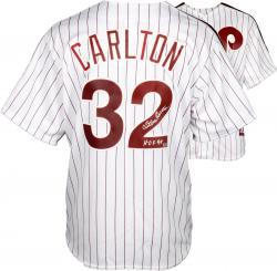 "Steve Carlton Philadelphia Phillies Autographed Majestic White Replica Jersey with ""HOF 94"" Inscription"