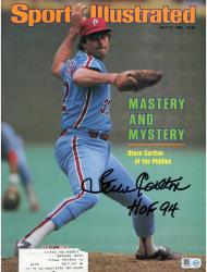 "Steve Carlton Philadelphia Phillies Autographed Mastery and Mystery Sports Illustrated Magazine with ""HOF"" Inscription"