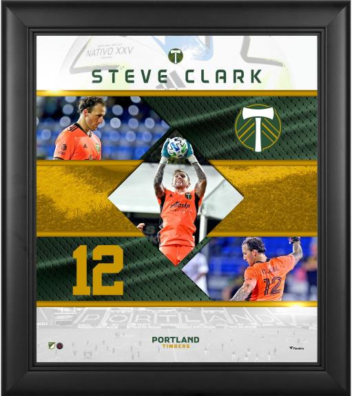 """Steve Clark Portland Timbers Framed 15"""" x 17"""" Stitched Stars Collage"""