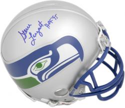 Steve Largent Hall Of Fame Autographed Mini Helmet - Mounted Memories