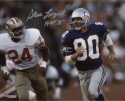 "Steve Largent Seattle Seahawks Autographed 8"" x 10"" Blue Uniform Running Photograph with HOF 95 Inscription"