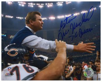 "Steve McMichael Chicago Bears Autographed 8"" x 10"" Holding Mike Ditka Photograph with ""76 Bears"" Inscription"