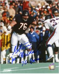 Steve McMichael Chicago Bears Super Bowl XX Autographed 8'' x 10'' Action Photograph with 76 Bears Inscription - Mounted Memories
