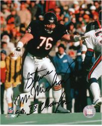 "Steve McMichael Chicago Bears Autographed 8"" x 10"" vs New York Giants Photograph with SB XX Champs Inscription"