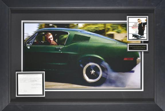Steve McQueen in Bullitt – Featuring a signed notice for a special meeting with the board of directors Framed 31×45