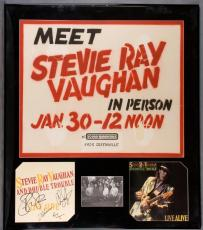 Steve Ray Vaughan Signed Promoyional Flat For Live Alive Display w/Dallas Rocord In-Store Appearance Sign (jan.30.1987)w/Original Band Photo Also Signed By Chris Layton,Tommy Shannon And Reese Wynans