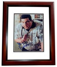 Steve Schirripa Autographed SOPRANOS 8x10 Photo MAHOGANY CUSTOM FRAME
