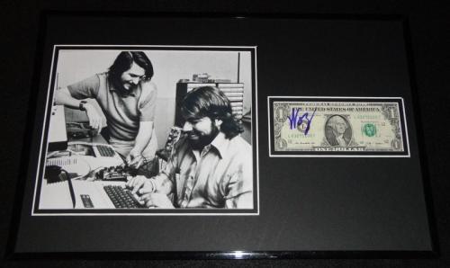 Steve Wozniak Signed Framed $2 Bill & Photo Display w/ Jobs Apple