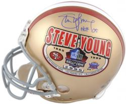 "Steve Young San Francisco 49ers Autographed Pro-Line Riddell Authentic HOF Helmet with ""HOF 2005"" Inscription - Mounted Memories"