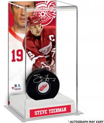 Steve Yzerman Detroit Red Wings Autographed Puck with Deluxe Tall Hockey Puck Case