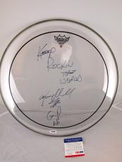 Steven Adler Signed 16 Inch Clear Remo Drum Head Psa/dna Inscribed Rare # M97939