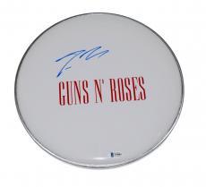 "Steven Adler Signed Autographed 12"" Drumhead GUNS N ROSES Beckett BAS COA"