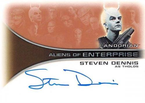 Steven Dennis autographed trading card Enterprise Aliens as Andorian Tholos 2002 Star Trek #AA11 Certified Insert 67