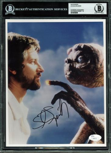 Steven Spielberg E.T. Signed 8x10 Photo Auto Graded Gem Mint 10! BAS Slabbed