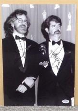 Steven Spielberg George Lucas Signed Autograph 11x14 B/W Photo Awards PSA/DNA