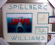 Steven Spielberg & John Williams Jaws Movie Jsa Coa Signed Double Matted Framed