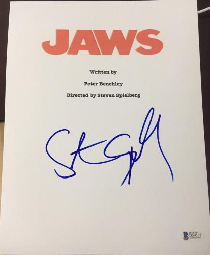 "Steven Spielberg Signed Autograph Full Rare ""jaws"" Movie Script Bas Beckett Coa"
