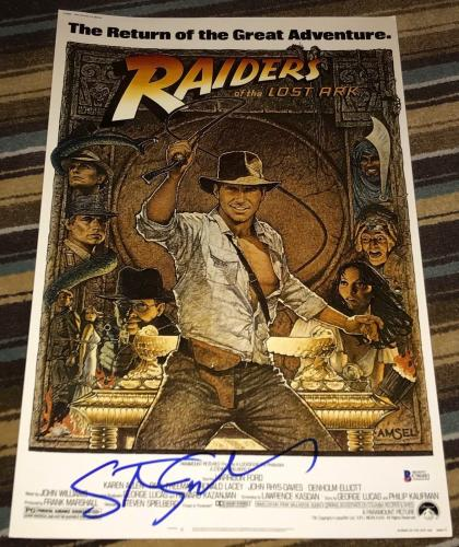 STEVEN SPIELBERG SIGNED AUTOGRAPH INDIANA JONES RAIDERS POSTER 12x PHOTO BECKETT