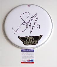 Steven Tyler Aerosmith Signed Drumhead Psa Coa V28858