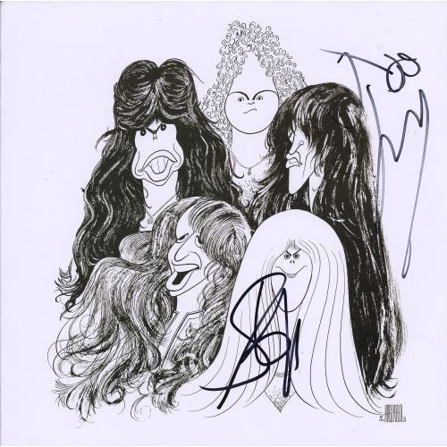 Steven Tyler and Joe Perry Aerosmith Autographed Draw the Line Album - JSA