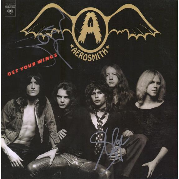 Steven Tyler and Joe Perry Aerosmith Autographed Get Your Wings Album - JSA