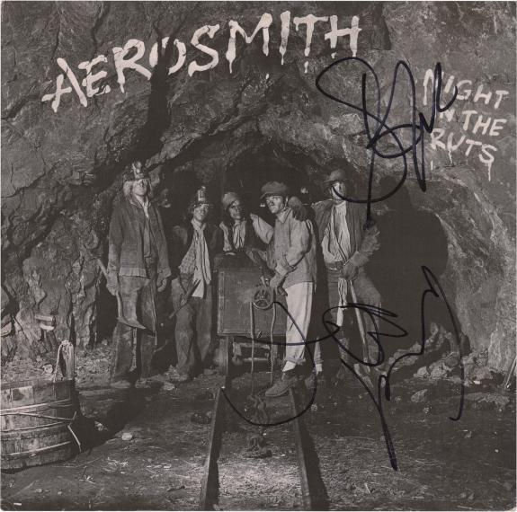 Steven Tyler and Joe Perry Aerosmith Autographed Night in the Ruts Music Album - JSA
