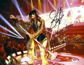 "Steven Tyler Autographed 11"" x 14"" Aerosmith Leaning With Microphone Photograph - PSA/DNA COA"