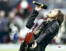 "Steven Tyler Autographed 11"" x 14""  Aerosmith Wearing Black Fur Coat Photograph - PSA/DNA COA"