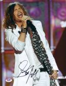"Steven Tyler Autographed 11"" x 14"" Aerosmith Wearing White Jacket Singing Photograph - PSA/DNA COA"