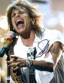 "Steven Tyler Autographed 11"" x 14"" Aerosmith Wearing White Shirt With Arm Tattoo Photograph - PSA/DNA COA"