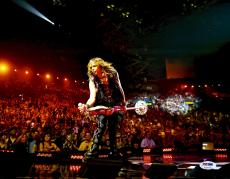 """Steven Tyler Autographed 11"""" x 14"""" Leaning with Microphone Stand - PSA/DNA COA"""