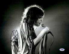 """Steven Tyler Autographed 11"""" x 14"""" Singing while Holding Microphone Black & White Photograph - PSA/DNA COA"""