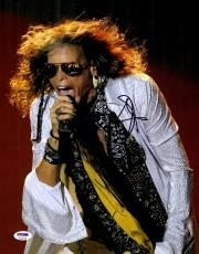 """Steven Tyler Autographed 11"""" x 14"""" Singing with Tongue Out Photograph - PSA/DNA COA"""