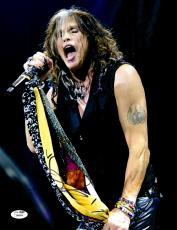 """Steven Tyler Autographed 11""""x 14"""" Aerosmith Black Vest Photograph - JSA COA"""