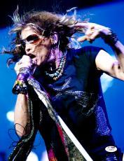"""Steven Tyler Autographed 11""""x 14"""" Aerosmith Studded Guns Shirt Photograph - JSA COA"""