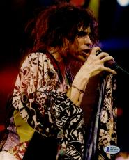 """Steven Tyler Autographed 8"""" x 10"""" Aerosmith Singing into Microphone With Messy Hair Photograph - Beckett COA"""
