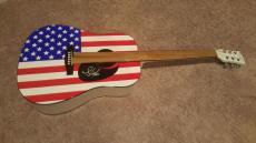 Steven Tyler Autographed American Flag Acoustic Guitar Signed Aerosmith Coa