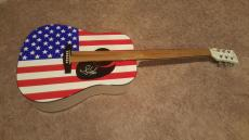 Steven Tyler Autographed American Flag Acoustic Guitar Signed Aerosmith Coa