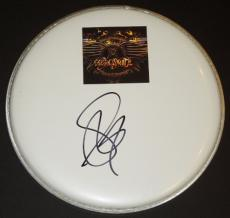 Steven Tyler Signed - Autographed Black Drum Head with Aerosmith Logo