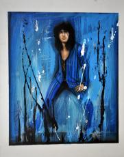 Steven Tyler Signed 22x28 Canvas Custom Blue Splatter Painting Exact Proof