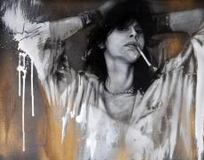 Steven Tyler Signed 30.5x24 Canvas Custom Smoking Painting Exact Vid Proof