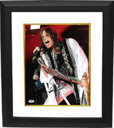 Steven Tyler signed Aerosmith 11x14 Photo Custom Framed (black shirt-vertical)- PSA Hologram (music/entertainment)