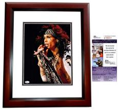 Steven Tyler Signed - Autographed Aerosmith 11x14 inch Photo MAHOGANY CUSTOM FRAME - JSA Certificate of Authenticity