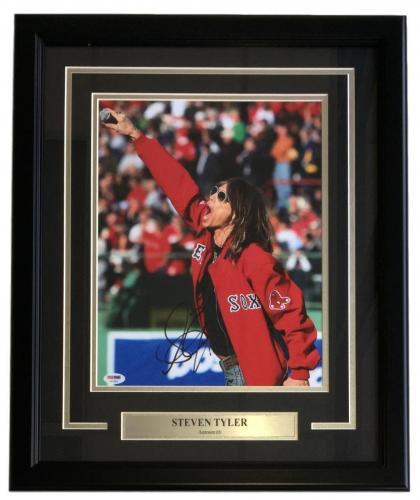 Steven Tyler Signed Framed 11x14 Aerosmith Red Sox Photo PSA X92283
