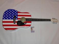 Steven Tyler Signed Full-size Usa Flag Acoustic Guitar Aerosmith Jsa Coa Proof