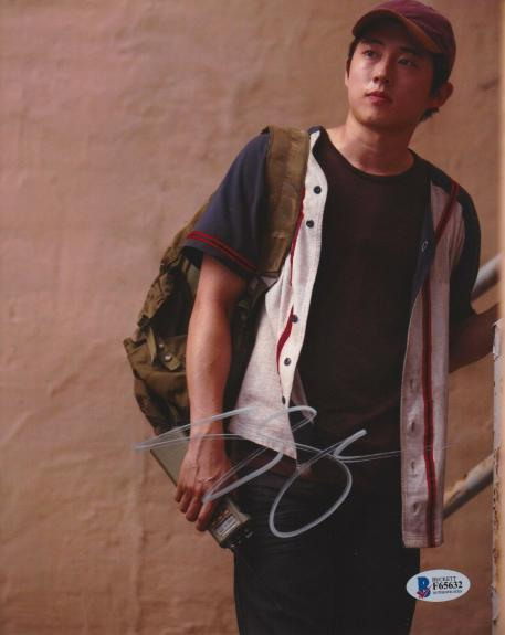 Steven Yeun Signed 8x10 Photo Walking Dead Beckett Bas Autograph Auto Coa I
