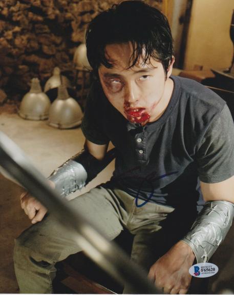 Steven Yeun Signed 8x10 Photo Walking Dead Beckett Bas Autograph Auto Coa L