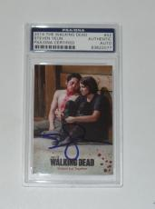 Steven Yeun Signed Auto'd The Walking Dead 2014 Card #42 Psa/dna Slabbed Glenn