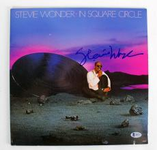 Stevie Wonder Signed Album Cover W/ Vinyl In Square Circle BAS #A09377