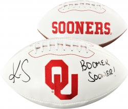 Kenny Stills Oklahoma Sooners Autographed White Panel Football with Boomer Sooner Inscription - Mounted Memories